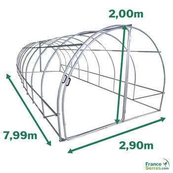dimension de la serre tunnel 24m2