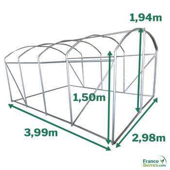 Dimensions serre tunnel pied droit 12m²