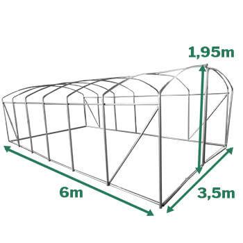 Dimensions serre tunnel pied droit 21m²