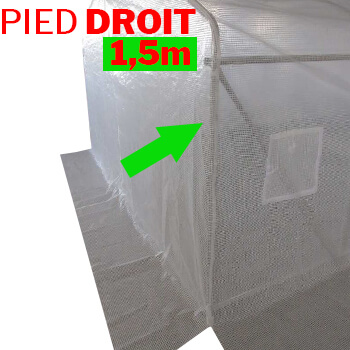 Serre de jardin tunnel avec pieds droit 1,50m