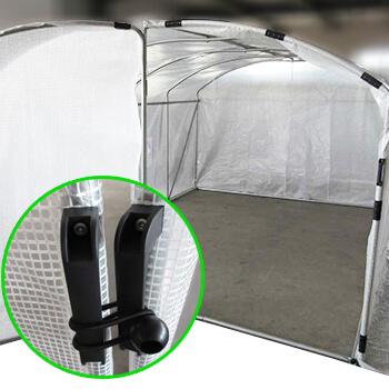Structure de la serre pied droit en acier galvanisé avec porte avant