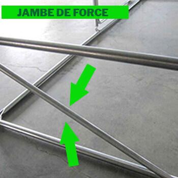 Barres anti-tempetes situées dans deux angles opposés de la serre tunnel
