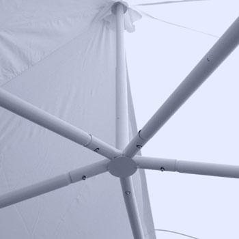 mâts de la tente de réception avec ressort amortisseur pour preserver la structure